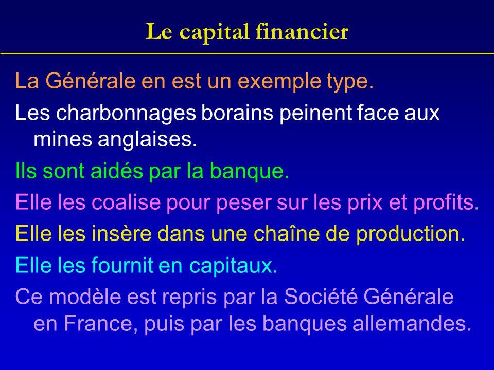 Le capital financier La Générale en est un exemple type. Les charbonnages borains peinent face aux mines anglaises. Ils sont aidés par la banque. Elle