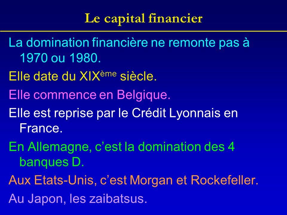 Le capital financier La domination financière ne remonte pas à 1970 ou 1980. Elle date du XIX ème siècle. Elle commence en Belgique. Elle est reprise
