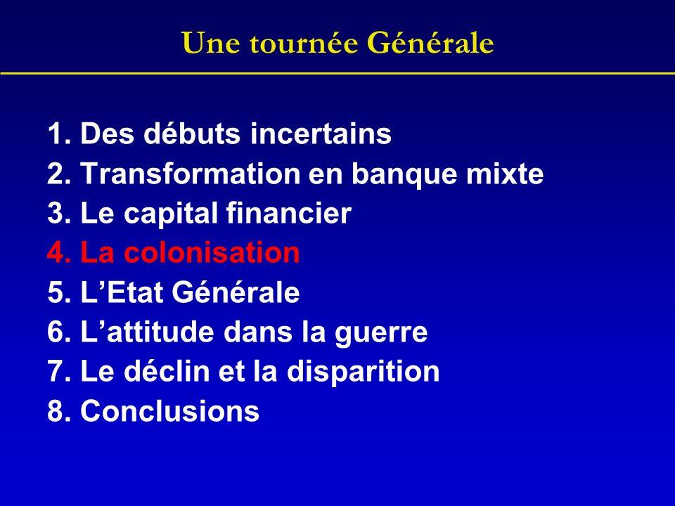Une tournée Générale 1. Des débuts incertains 2. Transformation en banque mixte 3. Le capital financier 4. La colonisation 5. LEtat Générale 6. Lattit