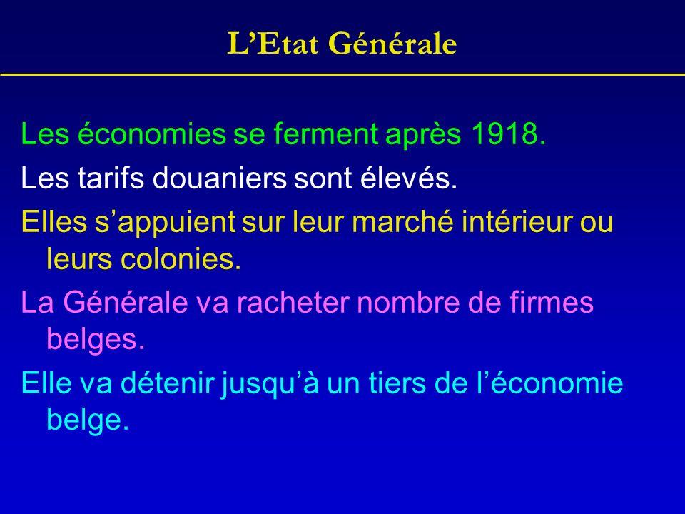 LEtat Générale Les économies se ferment après 1918. Les tarifs douaniers sont élevés. Elles sappuient sur leur marché intérieur ou leurs colonies. La