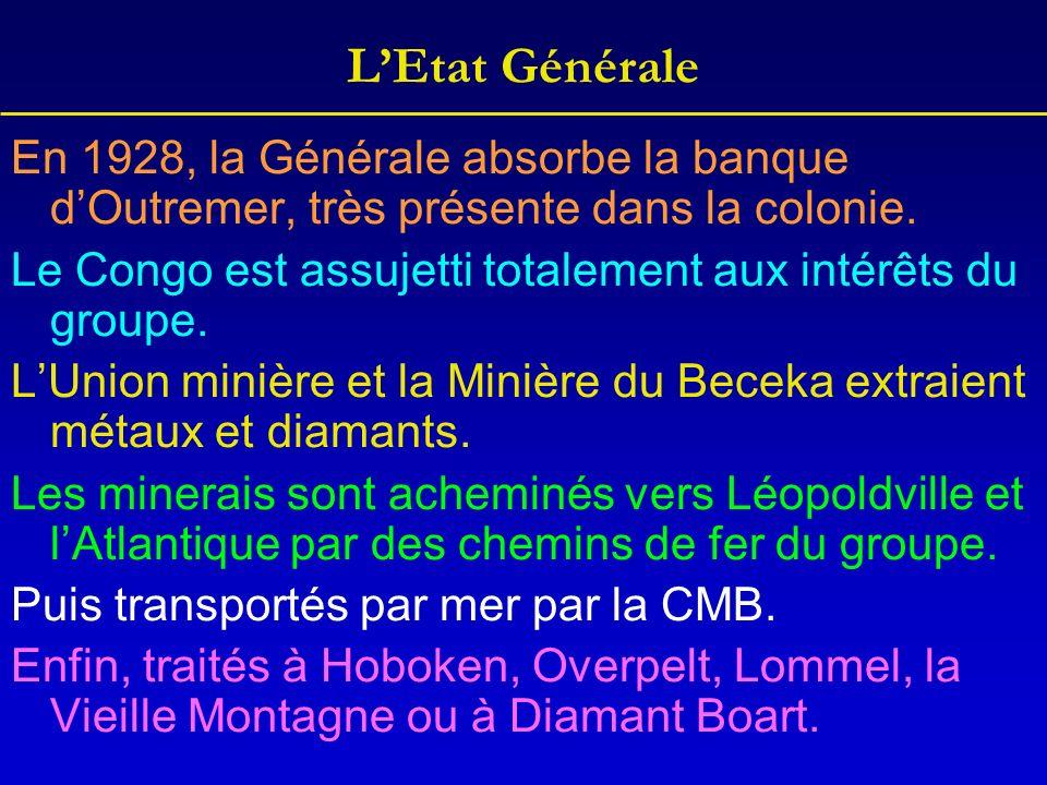 LEtat Générale En 1928, la Générale absorbe la banque dOutremer, très présente dans la colonie. Le Congo est assujetti totalement aux intérêts du grou