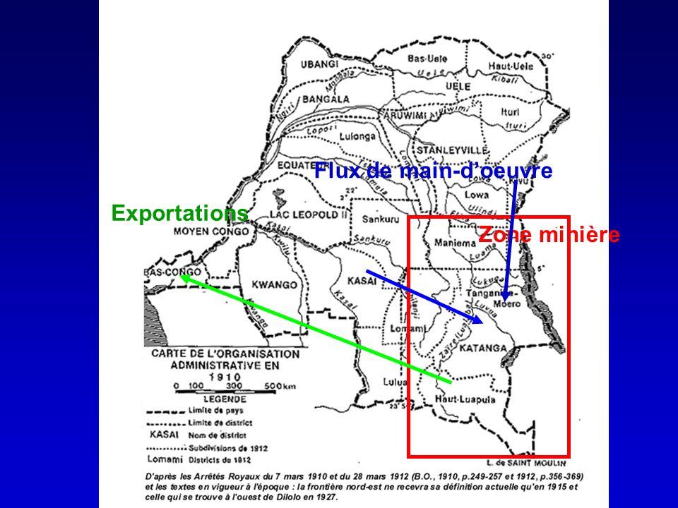 Zone minière Flux de main-doeuvre Exportations