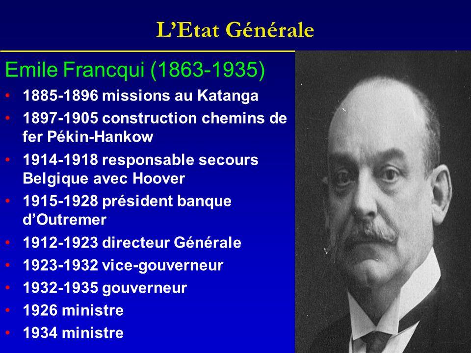 LEtat Générale Emile Francqui (1863-1935) 1885-1896 missions au Katanga 1897-1905 construction chemins de fer Pékin-Hankow 1914-1918 responsable secou