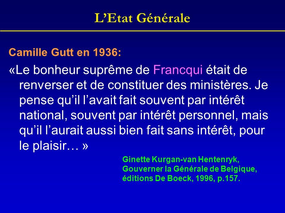 LEtat Générale Camille Gutt en 1936: «Le bonheur suprême de Francqui était de renverser et de constituer des ministères. Je pense quil lavait fait sou
