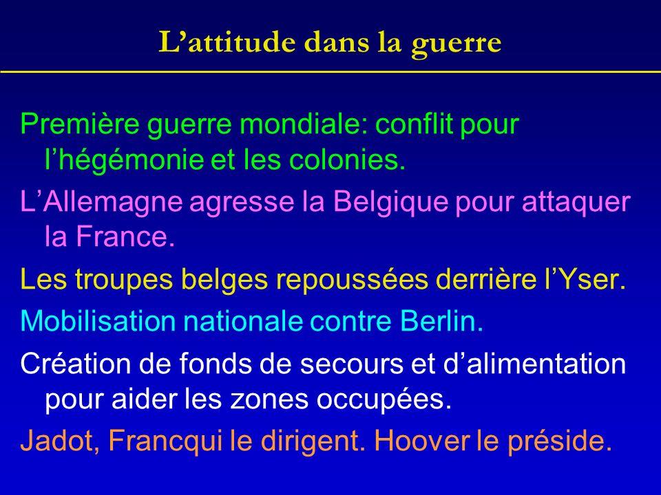 Lattitude dans la guerre Première guerre mondiale: conflit pour lhégémonie et les colonies. LAllemagne agresse la Belgique pour attaquer la France. Le