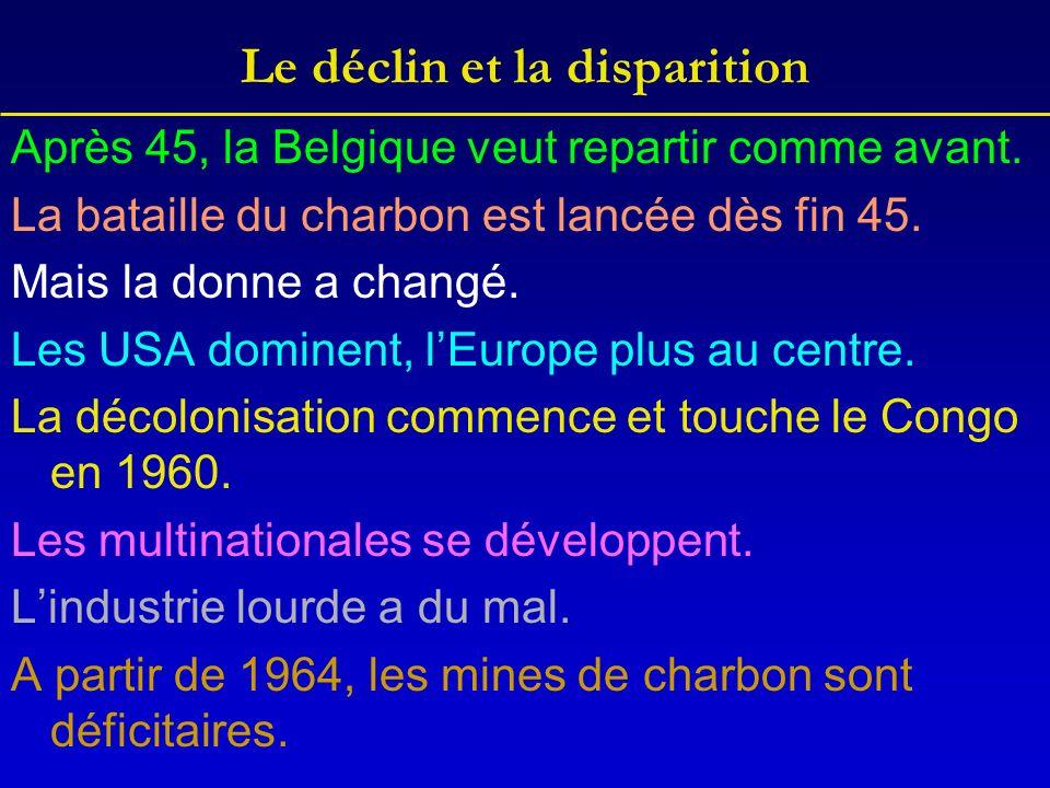 Le déclin et la disparition Après 45, la Belgique veut repartir comme avant. La bataille du charbon est lancée dès fin 45. Mais la donne a changé. Les