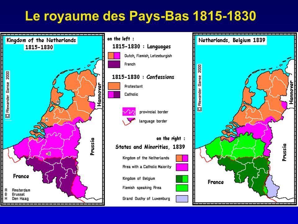 Des débuts incertains Les Pays-Bas sont un pays disparate; - des régions Nord agricoles et commerçantes, - une Flandre agricole et arriérée, sauf les villes (Gand, Anvers…), - un sillon Sambre-et-Meuse qui sindustrialise rapidement autour du charbon et du métal, - un centre financier qui se développe à Bruxelles.