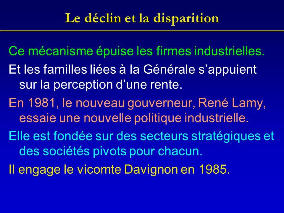 Le déclin et la disparition Ce mécanisme épuise les firmes industrielles. Et les familles liées à la Générale sappuient sur la perception dune rente.