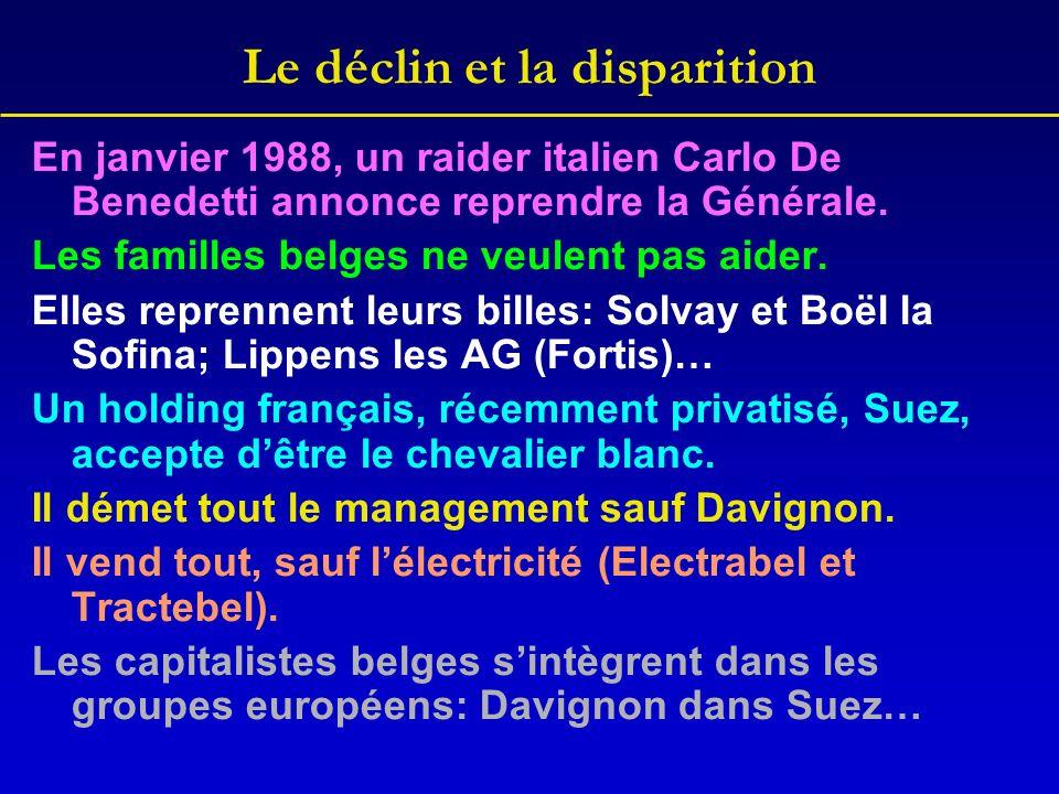 Le déclin et la disparition En janvier 1988, un raider italien Carlo De Benedetti annonce reprendre la Générale. Les familles belges ne veulent pas ai