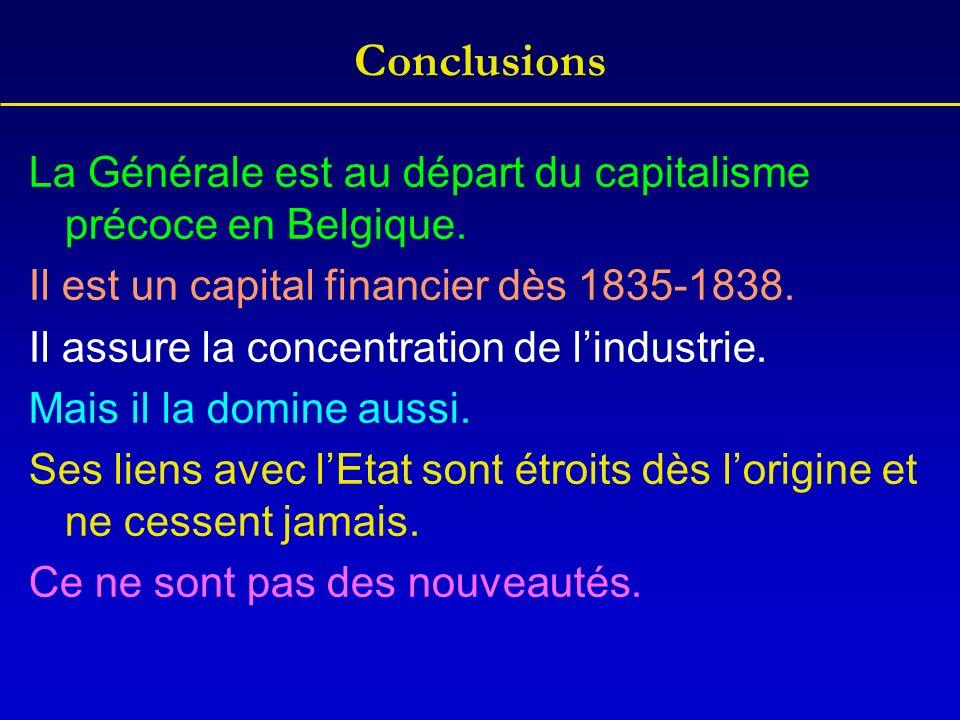 Conclusions La Générale est au départ du capitalisme précoce en Belgique. Il est un capital financier dès 1835-1838. Il assure la concentration de lin