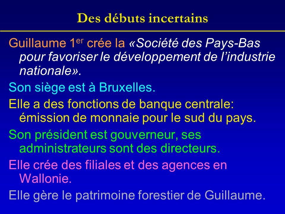 Des débuts incertains Guillaume 1 er crée la «Société des Pays-Bas pour favoriser le développement de lindustrie nationale». Son siège est à Bruxelles