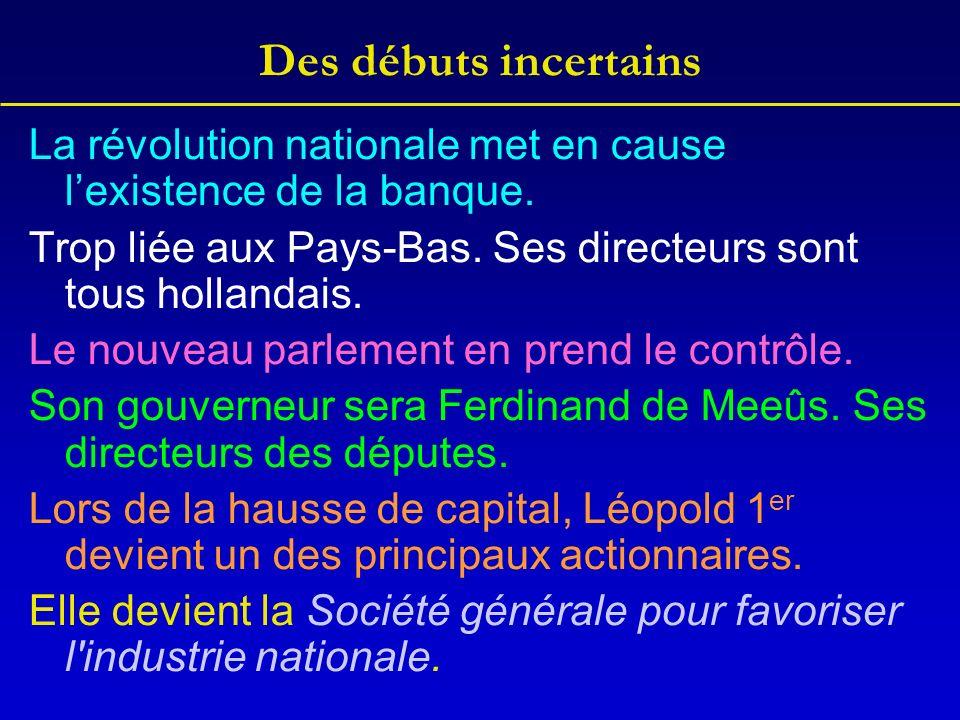 Des débuts incertains La révolution nationale met en cause lexistence de la banque. Trop liée aux Pays-Bas. Ses directeurs sont tous hollandais. Le no