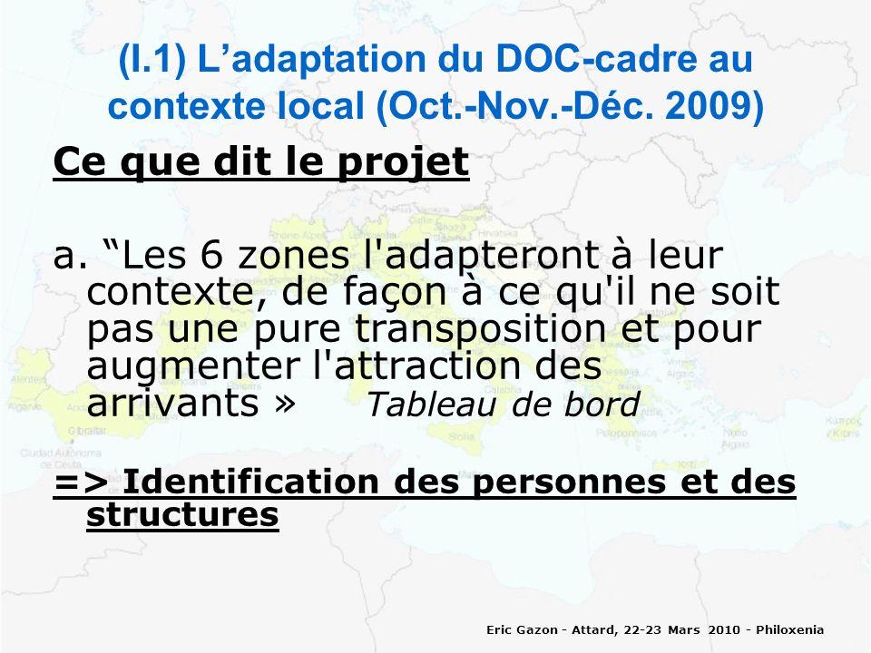 Eric Gazon - Attard, 22-23 Mars 2010 - Philoxenia (I.2) Ladaptation du DOC-cadre au contexte local (Oct.-Nov.-Déc.