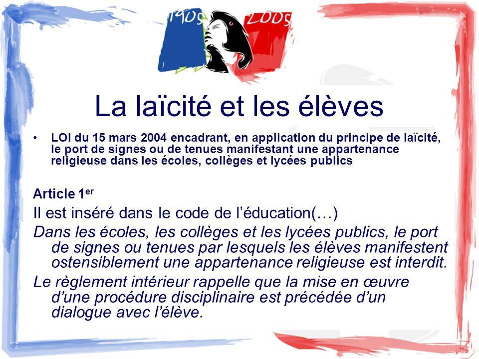 La laïcité et les élèves LOI du 15 mars 2004 encadrant, en application du principe de laïcité, le port de signes ou de tenues manifestant une apparten