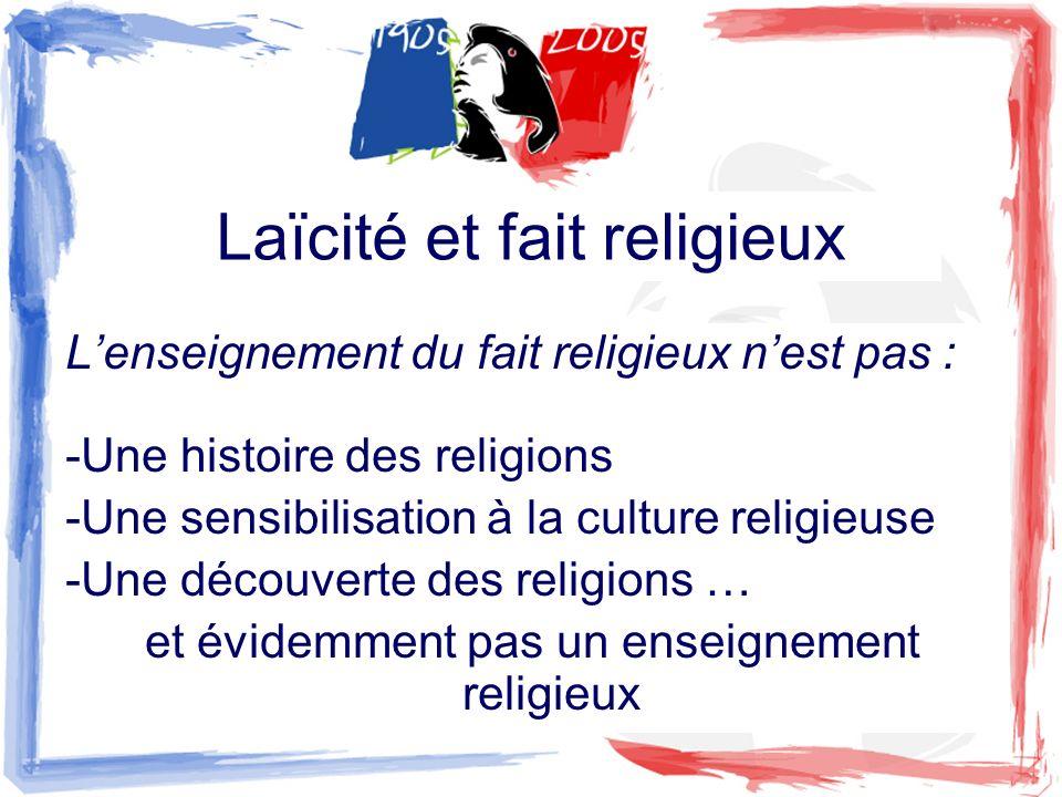 Lenseignement du fait religieux nest pas : -Une histoire des religions -Une sensibilisation à la culture religieuse -Une découverte des religions … et