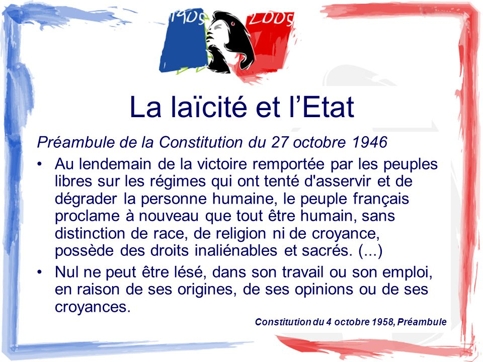 La laïcité et lEtat Préambule de la Constitution du 27 octobre 1946 Au lendemain de la victoire remportée par les peuples libres sur les régimes qui o
