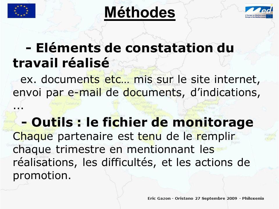 Méthodes - Eléments de constatation du travail réalisé ex.