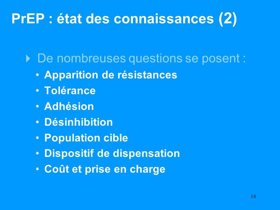 16 De nombreuses questions se posent : Apparition de résistances Tolérance Adhésion Désinhibition Population cible Dispositif de dispensation Coût et