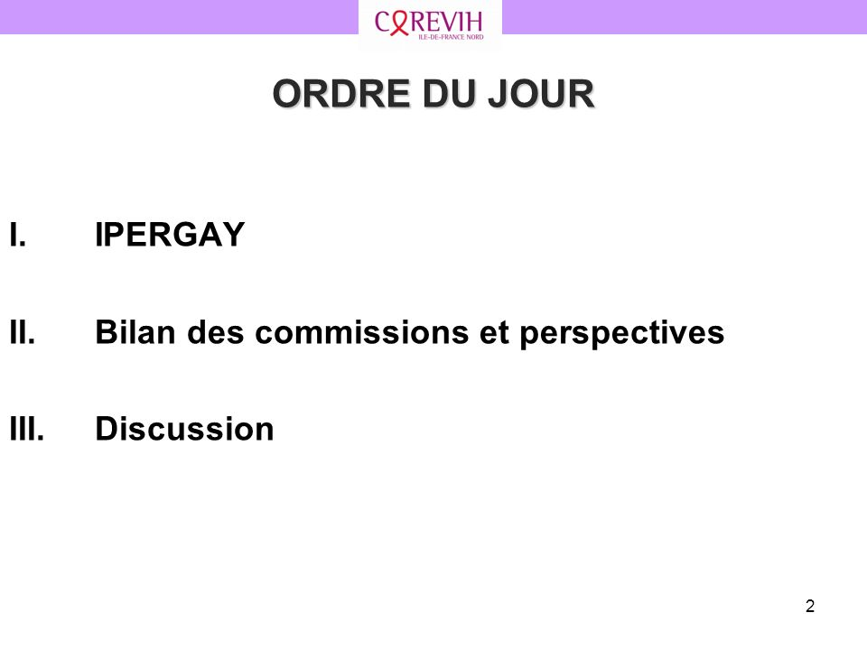 93 9. Synthèse des perspectives 2013 II.Bilan des commissions et perspectives