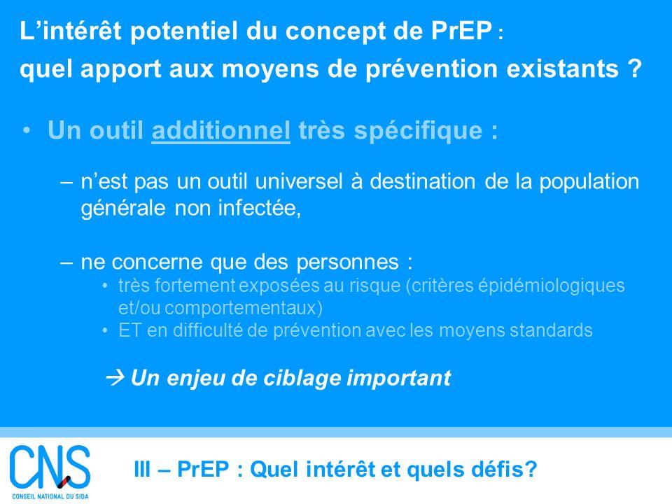 21 Lintérêt potentiel du concept de PrEP : quel apport aux moyens de prévention existants ? Un outil additionnel très spécifique : –nest pas un outil