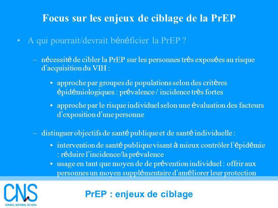 32 Focus sur les enjeux de ciblage de la PrEP A qui pourrait/devrait b é n é ficier la PrEP ? –n é cessit é de cibler la PrEP sur les personnes tr è s