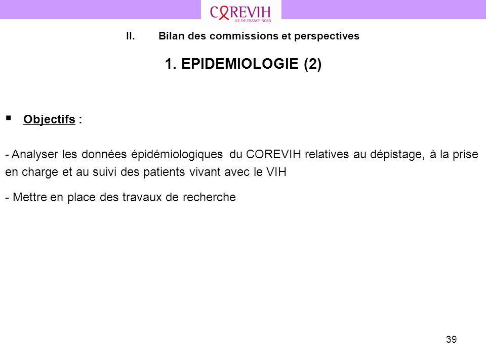 39 II.Bilan des commissions et perspectives 1. EPIDEMIOLOGIE (2) Objectifs : - Analyser les données épidémiologiques du COREVIH relatives au dépistage