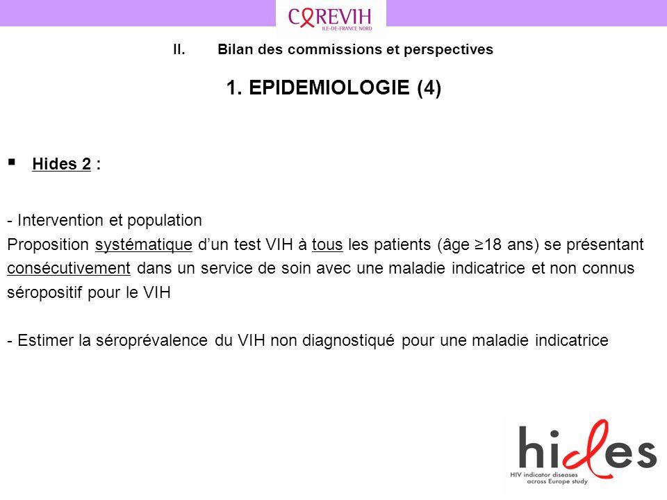 41 II.Bilan des commissions et perspectives 1. EPIDEMIOLOGIE (4) Hides 2 : - Intervention et population Proposition systématique dun test VIH à tous l