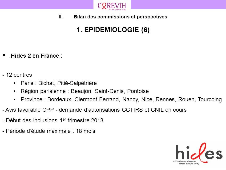 43 II.Bilan des commissions et perspectives 1. EPIDEMIOLOGIE (6) Hides 2 en France : - 12 centres Paris : Bichat, Pitié-Salpêtrière Région parisienne