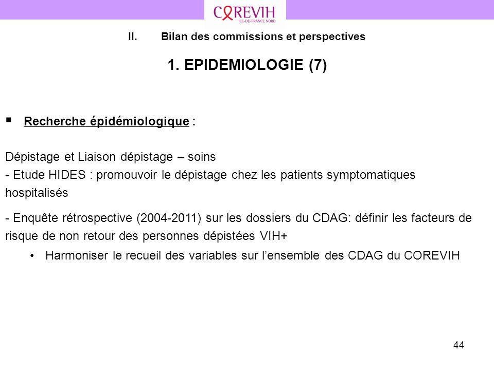 44 II.Bilan des commissions et perspectives 1. EPIDEMIOLOGIE (7) Recherche épidémiologique : Dépistage et Liaison dépistage – soins - Etude HIDES : pr
