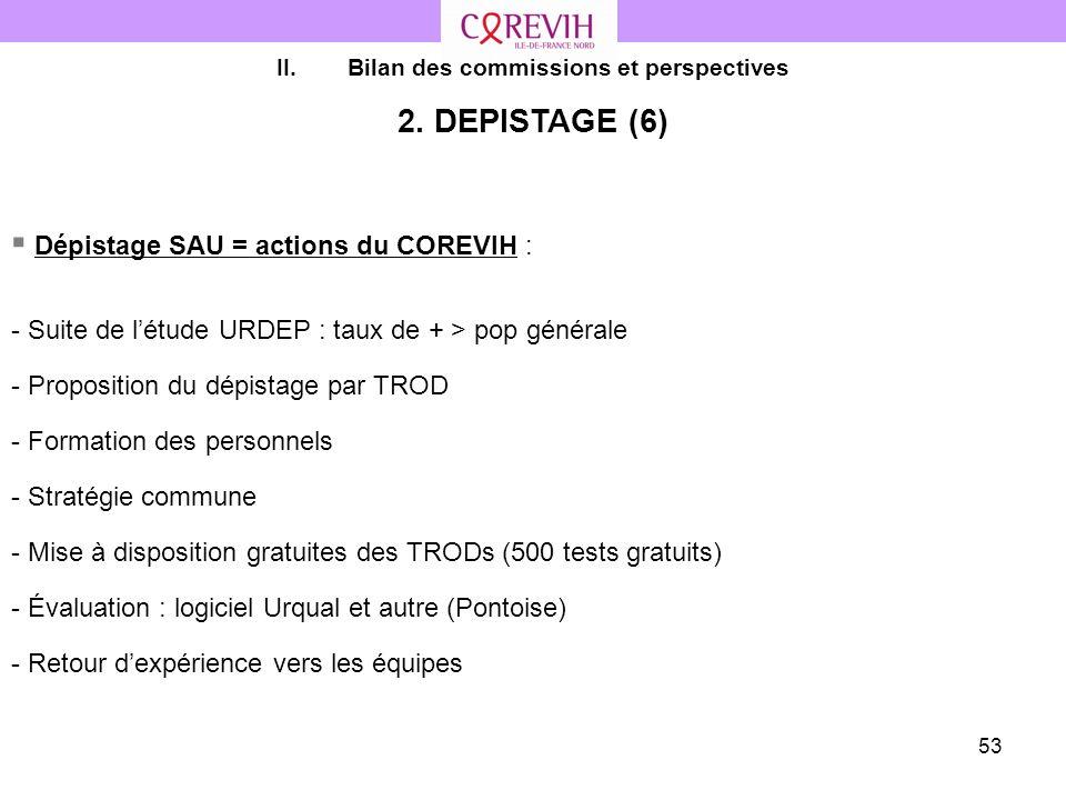 53 II.Bilan des commissions et perspectives 2. DEPISTAGE (6) Dépistage SAU = actions du COREVIH : - Suite de létude URDEP : taux de + > pop générale -