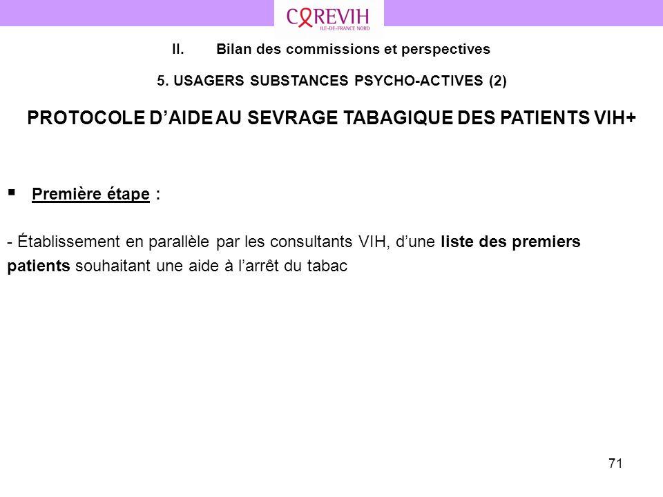 71 Première étape : - Établissement en parallèle par les consultants VIH, dune liste des premiers patients souhaitant une aide à larrêt du tabac II.Bi