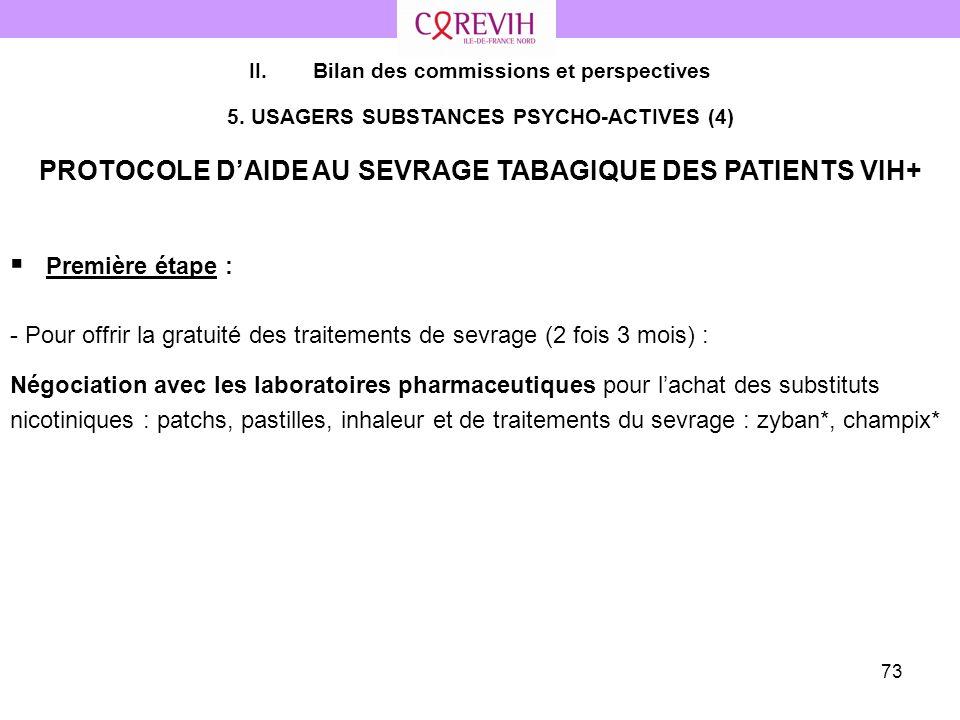 73 Première étape : - Pour offrir la gratuité des traitements de sevrage (2 fois 3 mois) : Négociation avec les laboratoires pharmaceutiques pour lach
