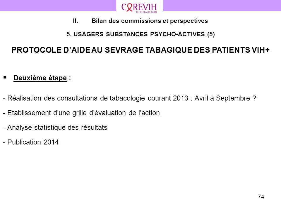 74 Deuxième étape : - Réalisation des consultations de tabacologie courant 2013 : Avril à Septembre ? - Etablissement dune grille dévaluation de lacti