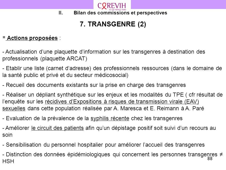 88 II.Bilan des commissions et perspectives 7. TRANSGENRE (2) Actions proposées : - Actualisation dune plaquette dinformation sur les transgenres à de