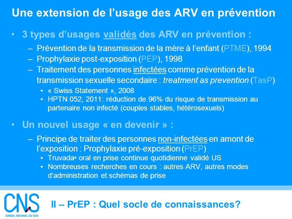 9 Une extension de lusage des ARV en prévention 3 types dusages validés des ARV en prévention : –Prévention de la transmission de la mère à lenfant (P