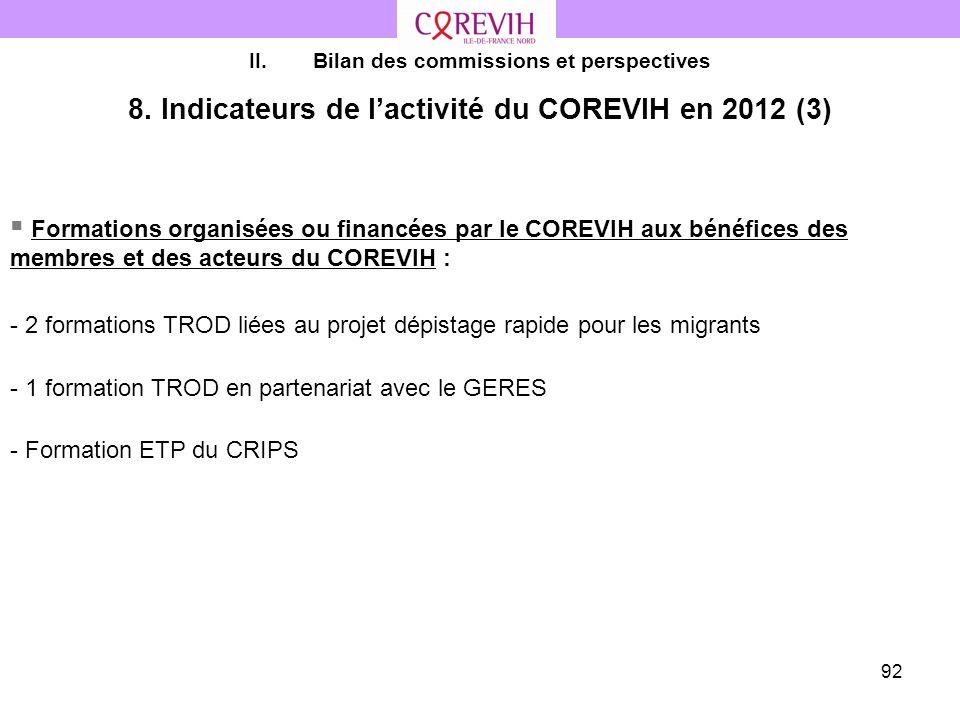 92 II.Bilan des commissions et perspectives 8. Indicateurs de lactivité du COREVIH en 2012 (3) Formations organisées ou financées par le COREVIH aux b