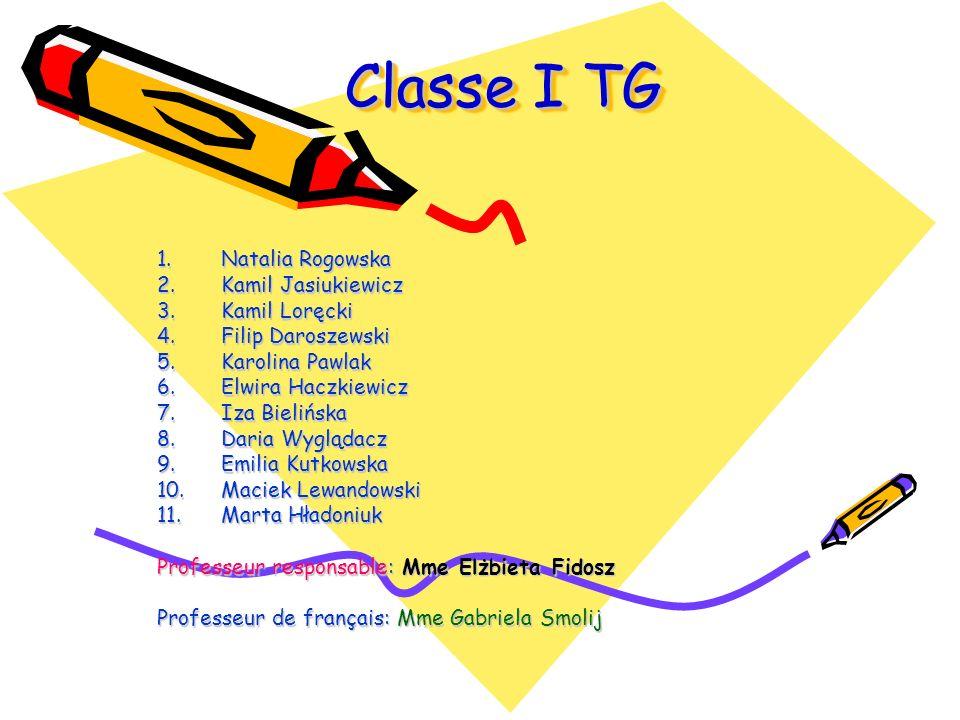 Classe I TG Classe I TG 1.N atalia Rogowska 2.K amil Jasiukiewicz 3.K amil Loręcki 4.F ilip Daroszewski 5.K arolina Pawlak 6.E lwira Haczkiewicz 7.I z