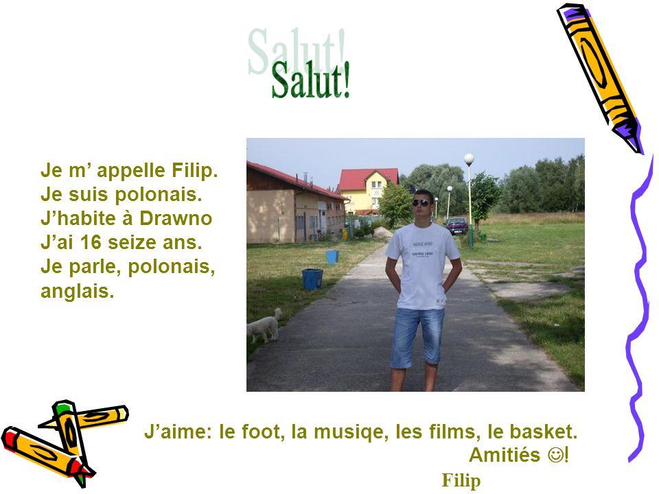 Je m appelle Filip. Je suis polonais. Jhabite à Drawno Jai 16 seize ans. Je parle, polonais, anglais. Jaime: le foot, la musiqe, les films, le basket.