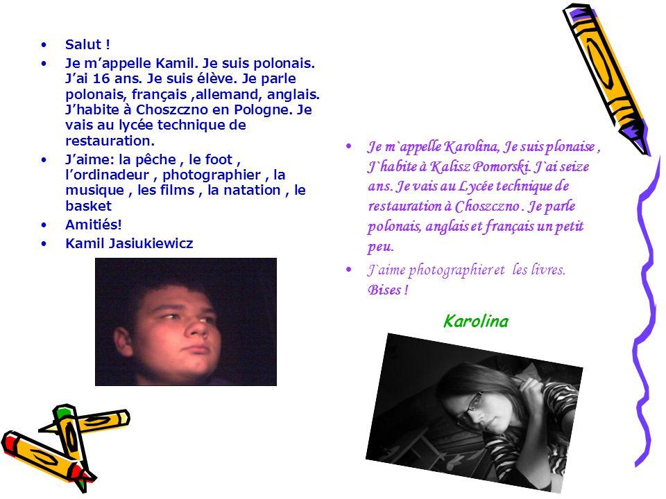 Salut ! Je mappelle Kamil. Je suis polonais. Jai 16 ans. Je suis élève. Je parle polonais, français,allemand, anglais. Jhabite à Choszczno en Pologne.