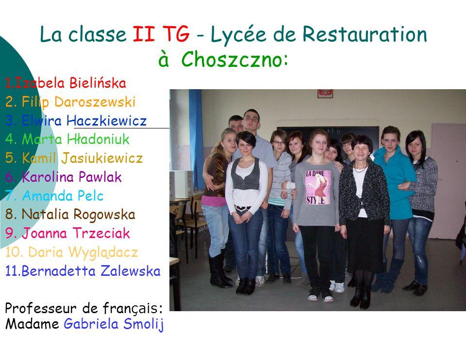 La classe II TG - Lycée de Restauration à Choszczno: 1.Izabela Bielińska 2. Filip Daroszewski 3. Elwira Haczkiewicz 4. Marta Hładoniuk 5. Kamil Jasiuk