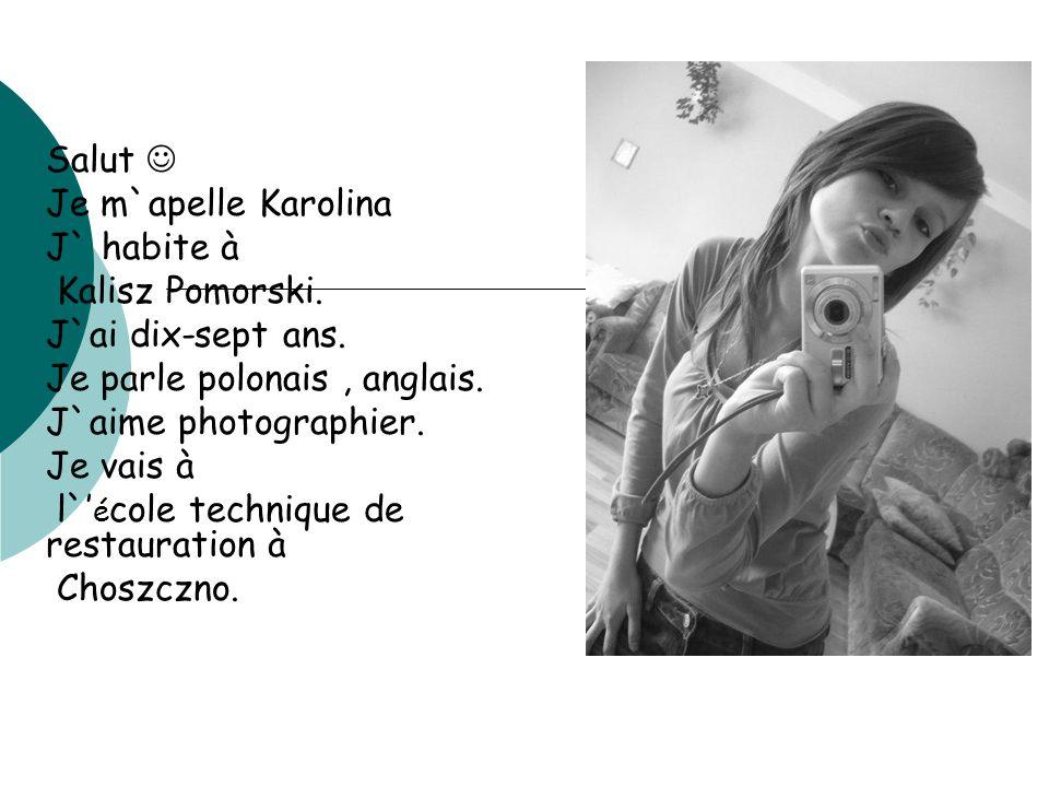 Salut Je m`apelle Karolina J` habite à Kalisz Pomorski. J`ai dix-sept ans. Je parle polonais, anglais. J`aime photographier. Je vais à l` é cole techn