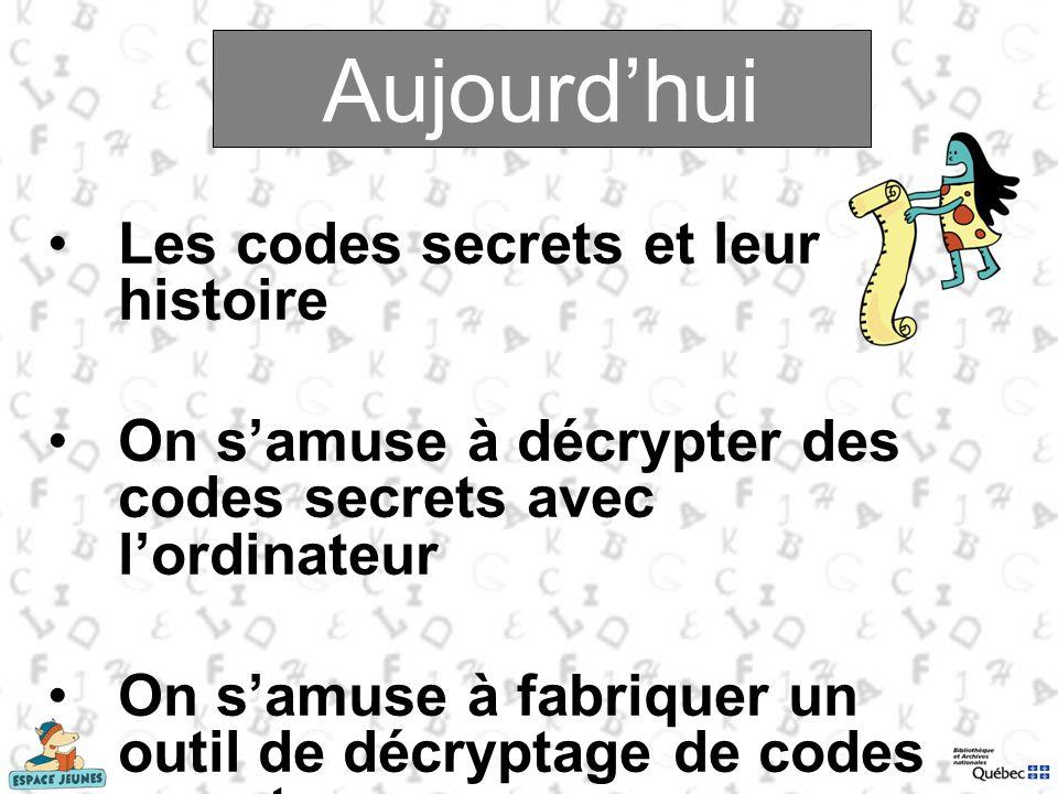 Aujourdhui Les codes secrets et leur histoire On samuse à décrypter des codes secrets avec lordinateur On samuse à fabriquer un outil de décryptage de