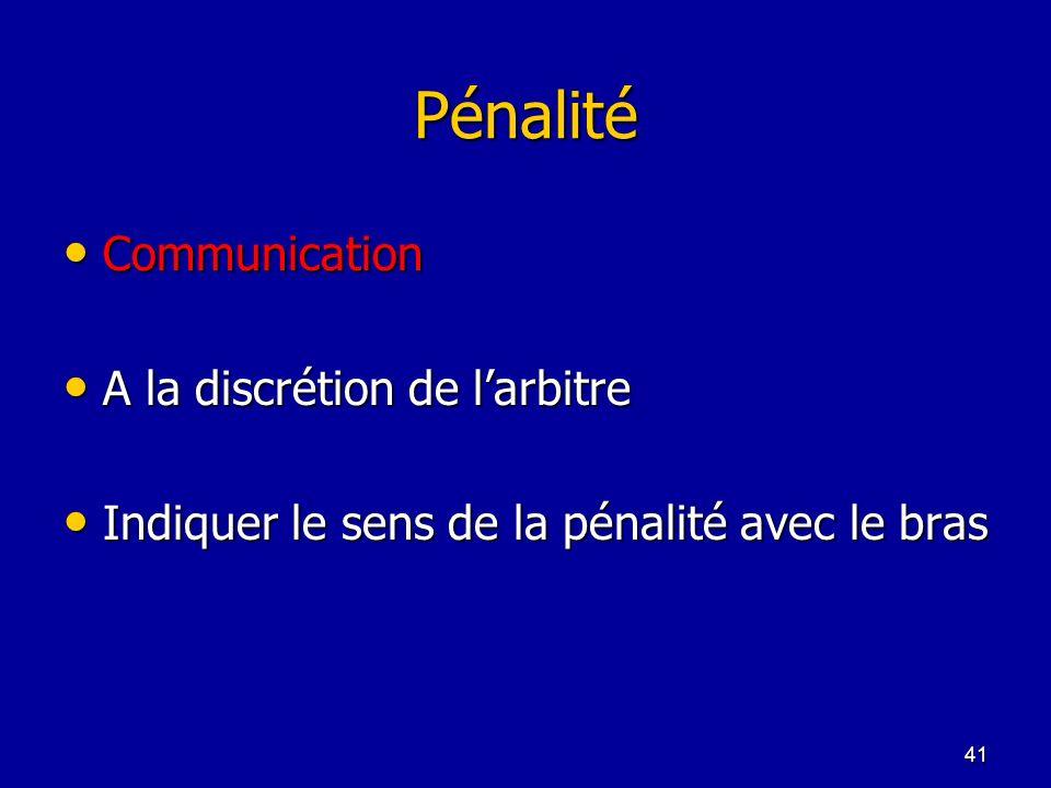 41 Pénalité Communication Communication A la discrétion de larbitre A la discrétion de larbitre Indiquer le sens de la pénalité avec le bras Indiquer
