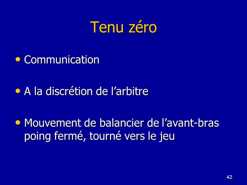 42 Tenu zéro Communication Communication A la discrétion de larbitre A la discrétion de larbitre Mouvement de balancier de lavant-bras poing fermé, to