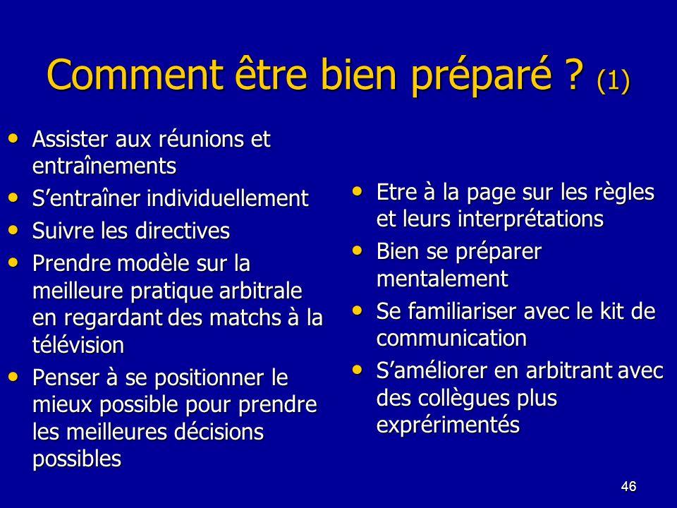 46 Comment être bien préparé ? (1) Assister aux réunions et entraînements Assister aux réunions et entraînements Sentraîner individuellement Sentraîne