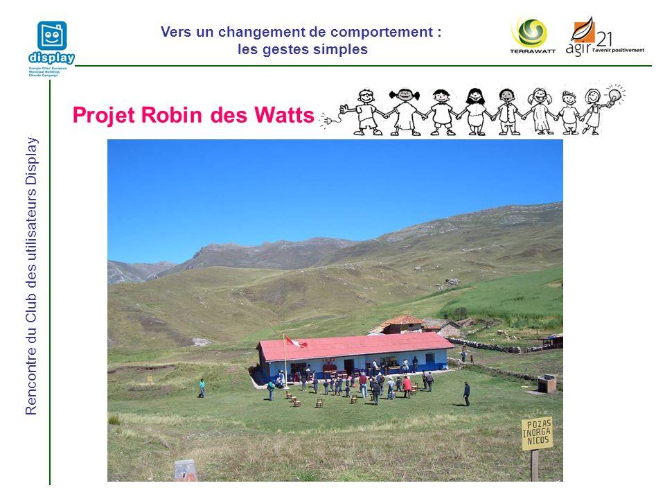 Vers un changement de comportement : les gestes simples Rencontre du Club des utilisateurs Display Projet Robin des Watts
