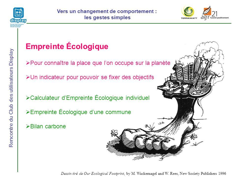 Vers un changement de comportement : les gestes simples Rencontre du Club des utilisateurs Display Dessin tiré de Our Ecological Footprint, by M.