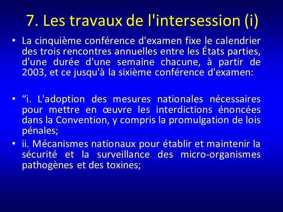 8.Les travaux de l intersession (ii) iii.