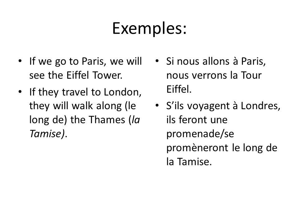 Exemples: If we go to Paris, we will see the Eiffel Tower. If they travel to London, they will walk along (le long de) the Thames (la Tamise). Si nous