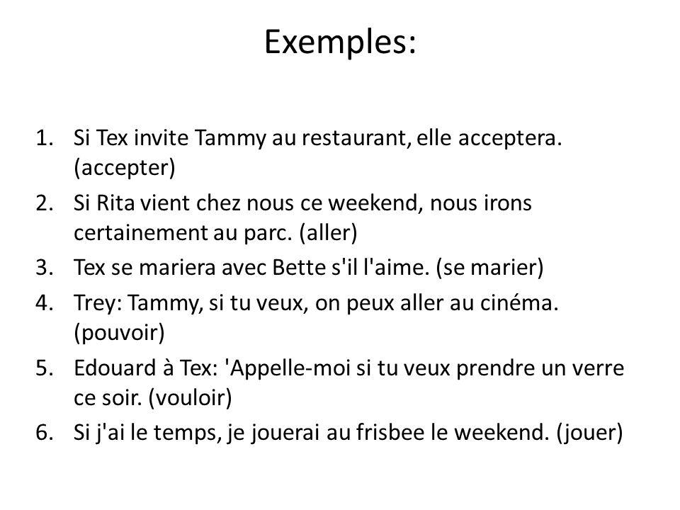 Exemples: 1.Si Tex invite Tammy au restaurant, elle acceptera. (accepter) 2.Si Rita vient chez nous ce weekend, nous irons certainement au parc. (alle